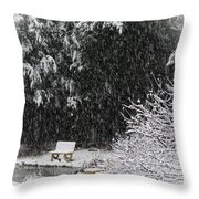 Snowy Bench Throw Pillow