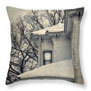 Snowy Brick House Throw Pillow
