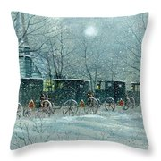 Snowy Carriages Throw Pillow