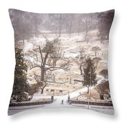 Snowy Cemetery Throw Pillow