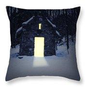 Snowy Chapel At Night Throw Pillow