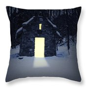 Snowy Chapel At Night Throw Pillow