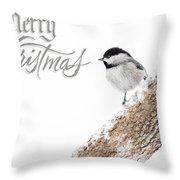 Snowy Chickadee Christmas Card Throw Pillow