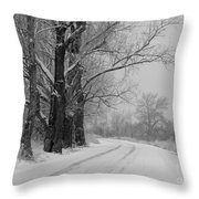 Snowy Country Road - Black And White Throw Pillow