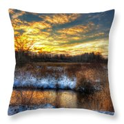 Snowy Dawn At South Ore Creek Throw Pillow