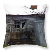 Snowy Day At The Old House Throw Pillow