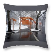 Snowy Day In Central Park Throw Pillow