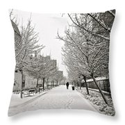Snowy Day In Madrid Throw Pillow