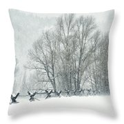 Snowy Day In The Tetons Throw Pillow by Sandra Bronstein