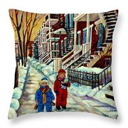 Snowy Day Rue Fabre Le Plateau Montreal Art Winter City Scenes Paintings Carole Spandau Throw Pillow