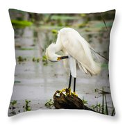 Snowy Egret In Swamp Throw Pillow