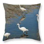 Snowy Egret Lunch Break Throw Pillow