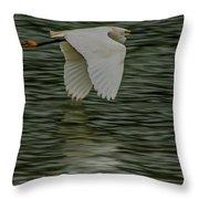 Snowy Egret On Estuary Throw Pillow