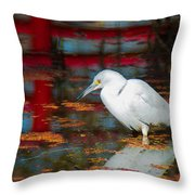 Snowy Egret Stalking His Lunch Throw Pillow