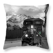 Snowy Engine Through The Rockies Throw Pillow