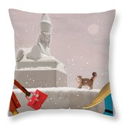 Snowy Evening In The City Throw Pillow