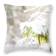 Snowy Evergreen Throw Pillow