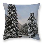 Snowy Fir Trees  Throw Pillow