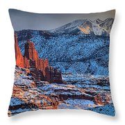 Snowy Fisher Towers Throw Pillow