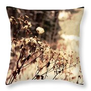 Snowy Flowes And Layers Throw Pillow