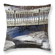 Snowy Foot Bridge Throw Pillow