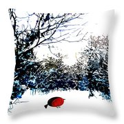 Snowy Forest At Christmas Time Throw Pillow