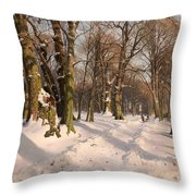 Snowy Forest Road 1908 Throw Pillow