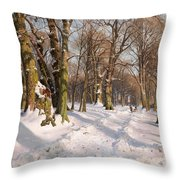 Snowy Forest Road In Sunlight Throw Pillow