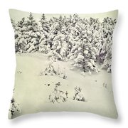 Snowy Forest Vintage Throw Pillow