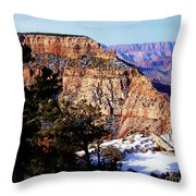 Snowy Grand Canyon Vista Throw Pillow by Janice Sakry