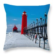 Snowy Grand Haven Pier Throw Pillow