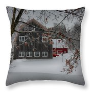 Snowy Grey And Red Throw Pillow