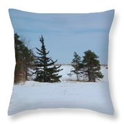 Snowy Hillside With Evergreen Trees And Bluesky Throw Pillow