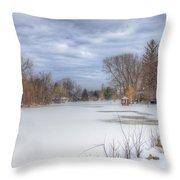 Snowy Lake Throw Pillow