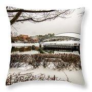 Snowy Landscape At Symphony Park Charlotte North Carolina Throw Pillow