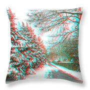 Snowy Lane - Use Red/cyan Filtered 3d Glasses Throw Pillow