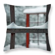 Snowy Lines Throw Pillow