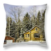 Snowy Log Home Throw Pillow