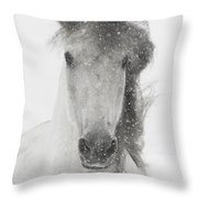 Snowy Mare Throw Pillow