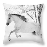 Snowy Mare Leaps Throw Pillow