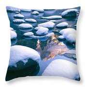 Snowy Merced River With Reflection Throw Pillow