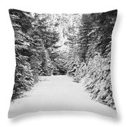 Snowy Mountain Road - Black And White Throw Pillow