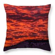 Snowy Mountain Sunset Throw Pillow