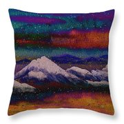 Snowy Mountains On A Colorful Winter Night Throw Pillow