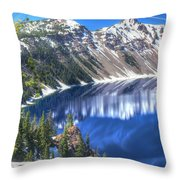 Snowy Mountains Reflected In Crater Lake Throw Pillow