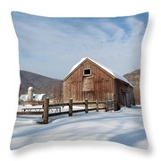 Snowy New England Barns Square Throw Pillow