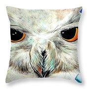 Snowy Owl - Female - Close Up Throw Pillow by Daniel Janda