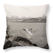Snowy Owl In Motion Throw Pillow