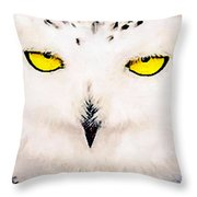 Artic Snowy Owl Painting Throw Pillow