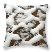 Snowy Path And Paw Prints Throw Pillow